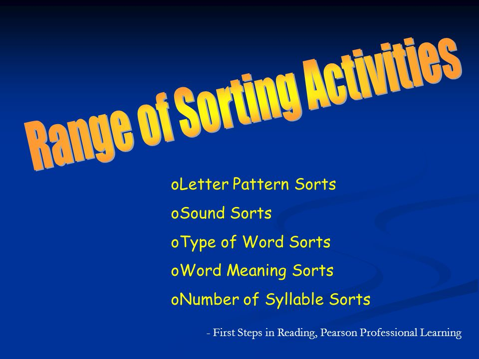 Range of Sorting Activities