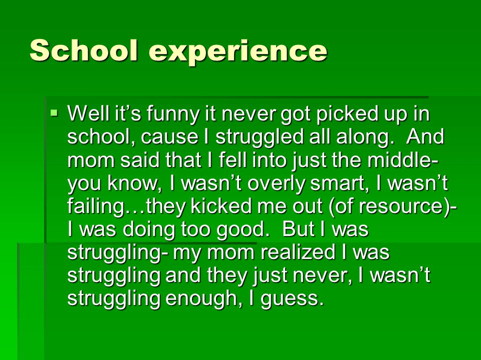 School experience