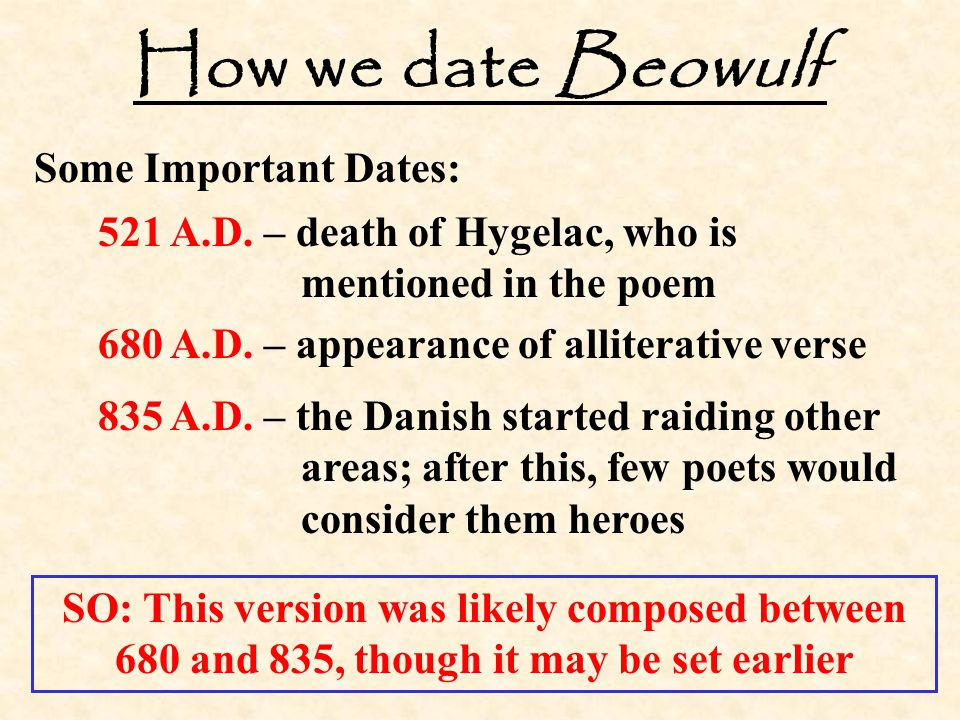 How we date Beowulf Some Important Dates: