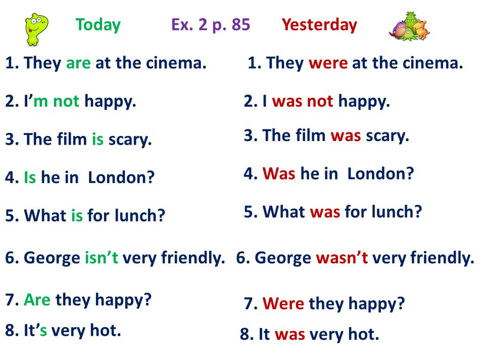 Today Ex. 2 p. 85. Yesterday. 1. They are at the cinema. 1. They were at the cinema. 2. I'm not happy.