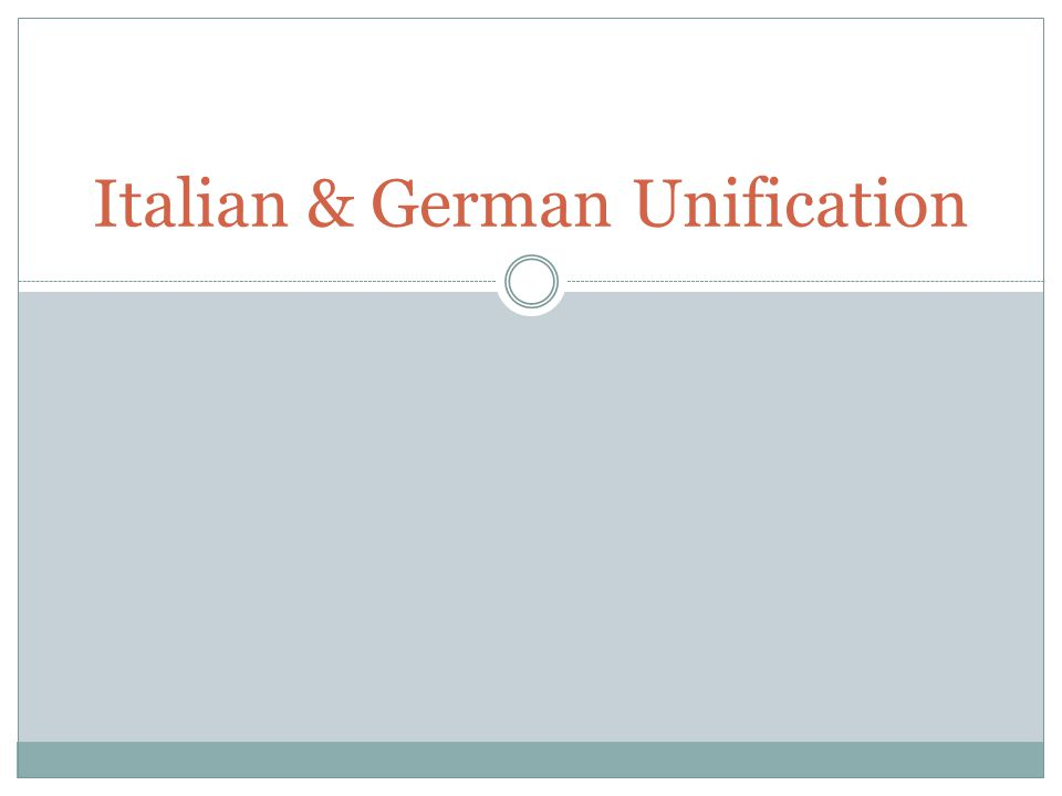 Italian & German Unification