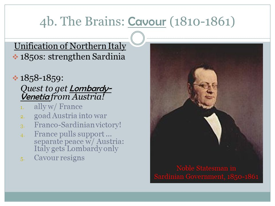 4b. The Brains: Cavour (1810-1861)