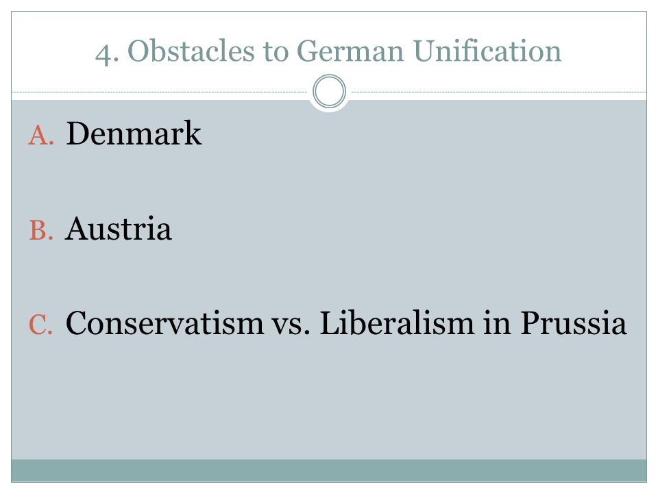 4. Obstacles to German Unification