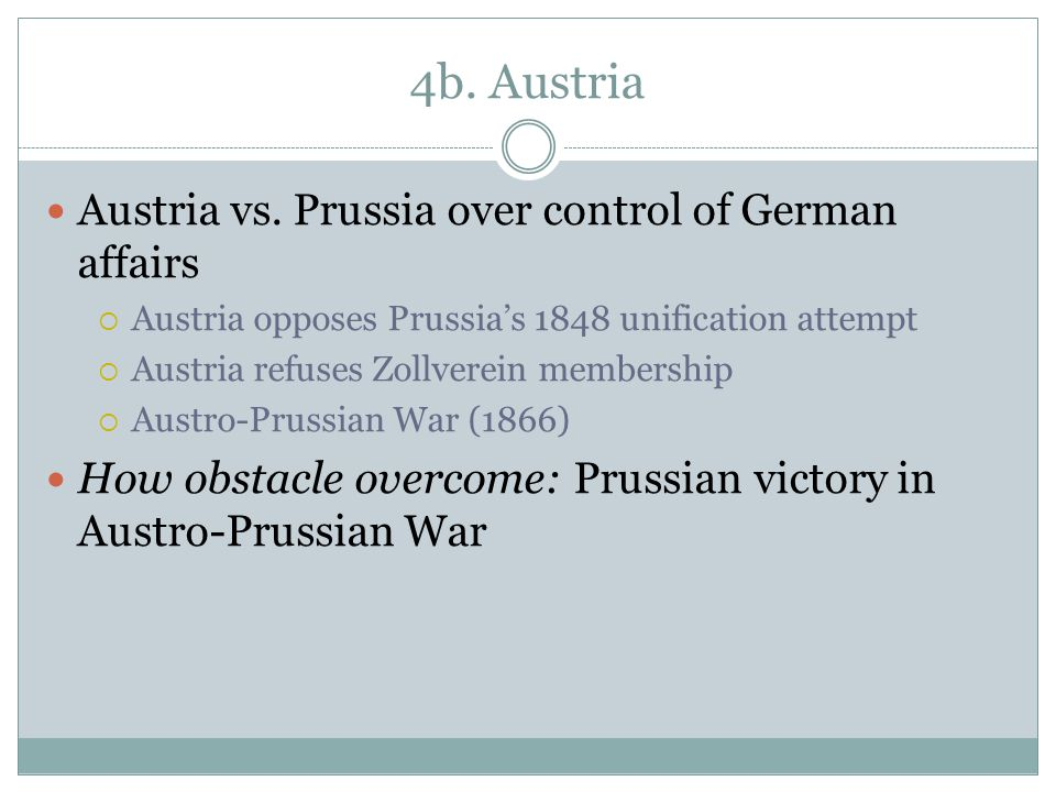 4b. Austria Austria vs. Prussia over control of German affairs