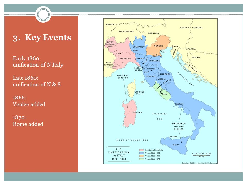 3. Key Events Early 1860: unification of N Italy Late 1860: