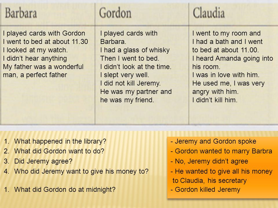 I played cards with Gordon