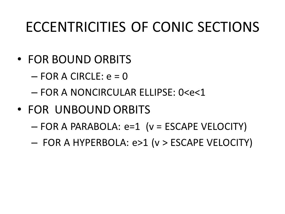 ECCENTRICITIES OF CONIC SECTIONS