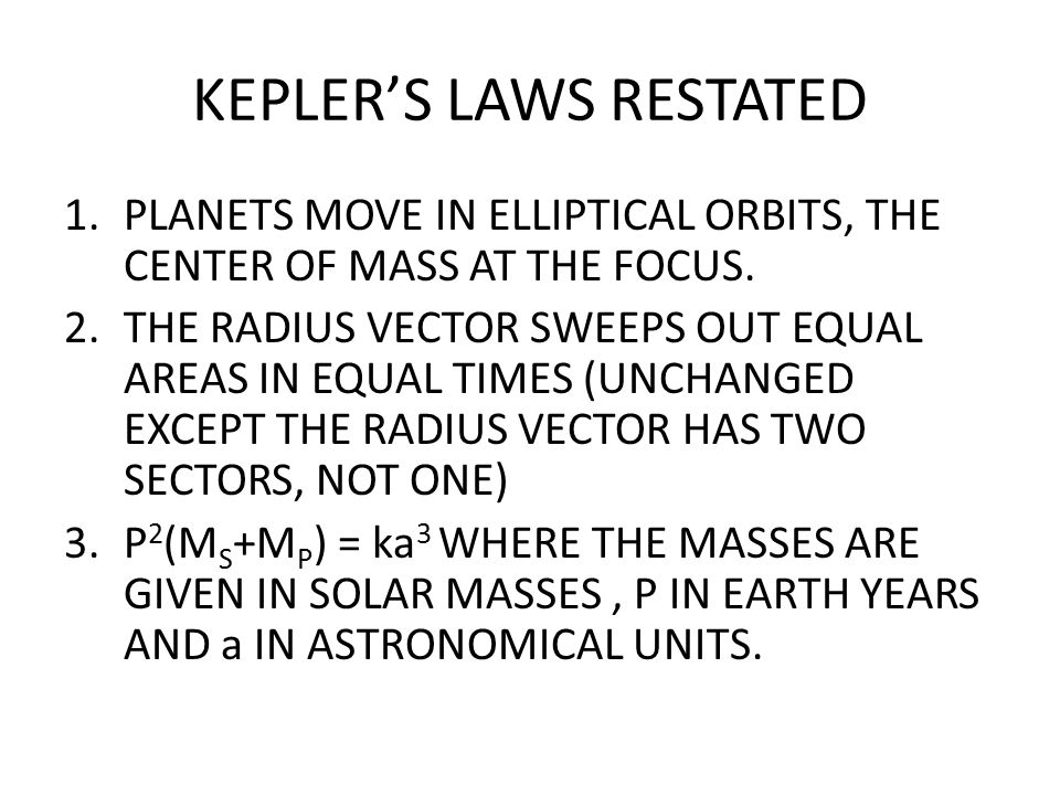 KEPLER'S LAWS RESTATED
