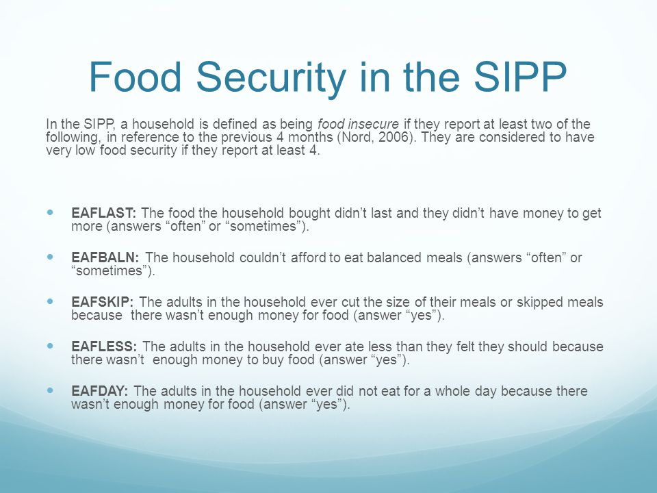 Food Security in the SIPP