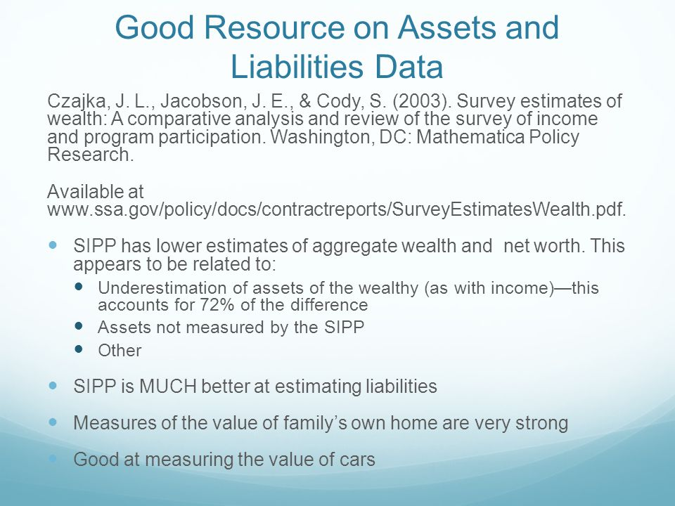 Good Resource on Assets and Liabilities Data