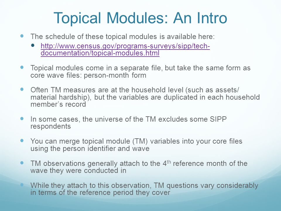 Topical Modules: An Intro