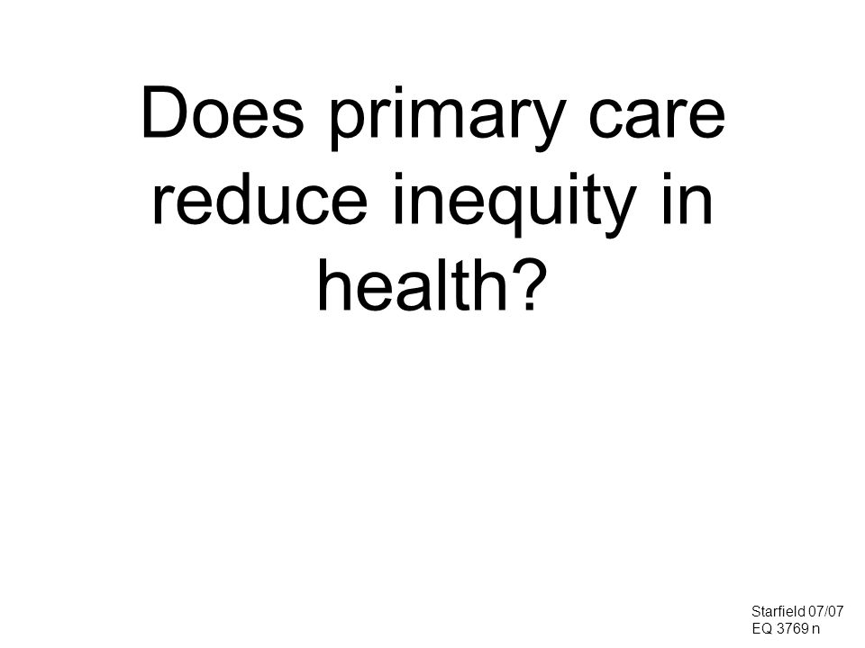 Does primary care reduce inequity in health