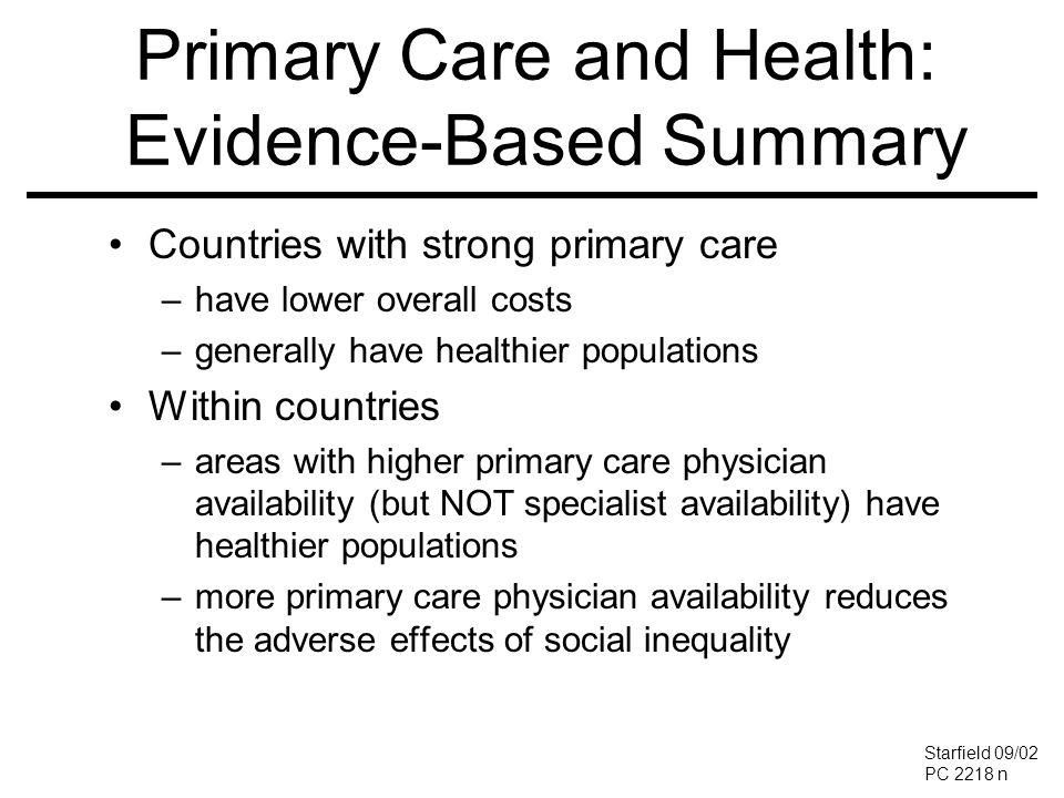 Primary Care and Health: Evidence-Based Summary