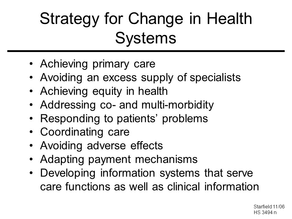 Strategy for Change in Health Systems