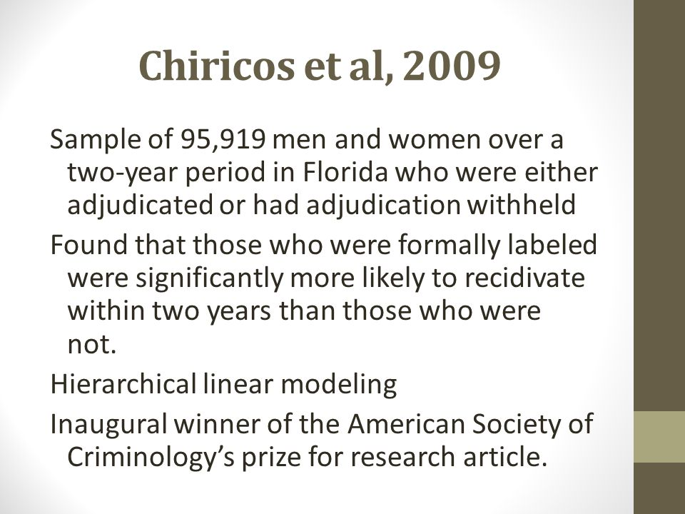 Chiricos et al, 2009