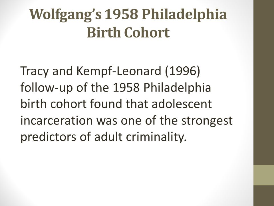 Wolfgang's 1958 Philadelphia Birth Cohort