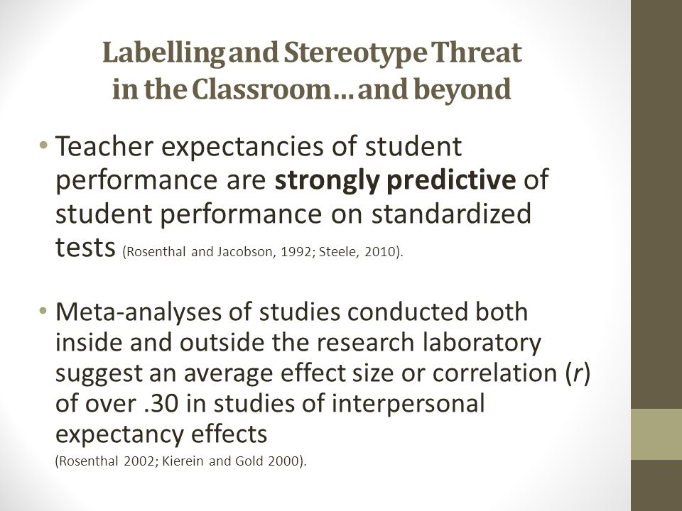 Labelling and Stereotype Threat in the Classroom… and beyond