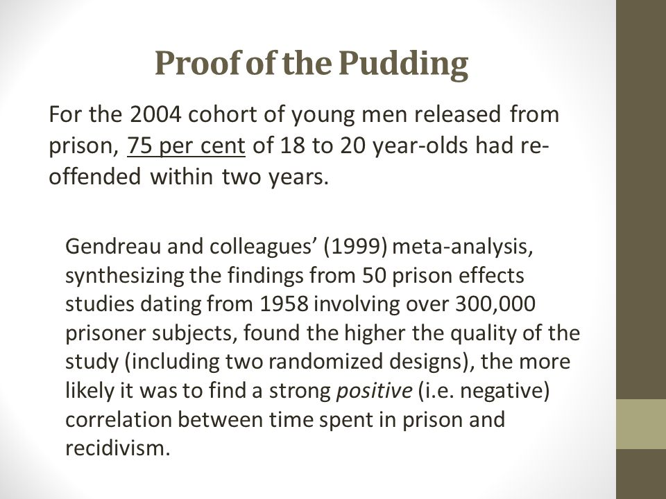 Proof of the Pudding For the 2004 cohort of young men released from prison, 75 per cent of 18 to 20 year-olds had re-offended within two years.