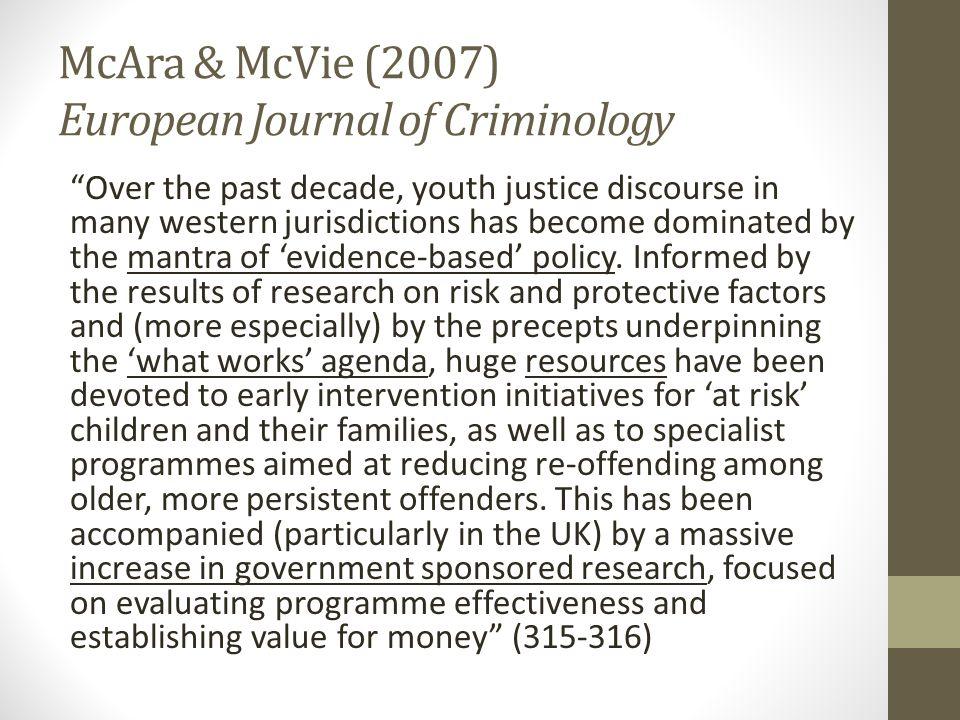 McAra & McVie (2007) European Journal of Criminology