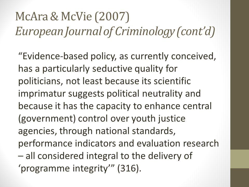 McAra & McVie (2007) European Journal of Criminology (cont'd)