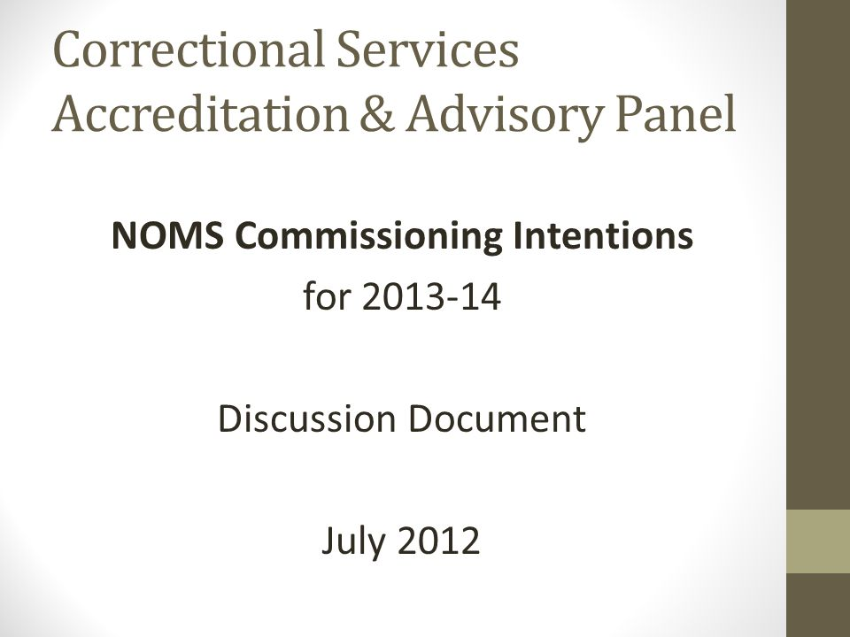 Correctional Services Accreditation & Advisory Panel