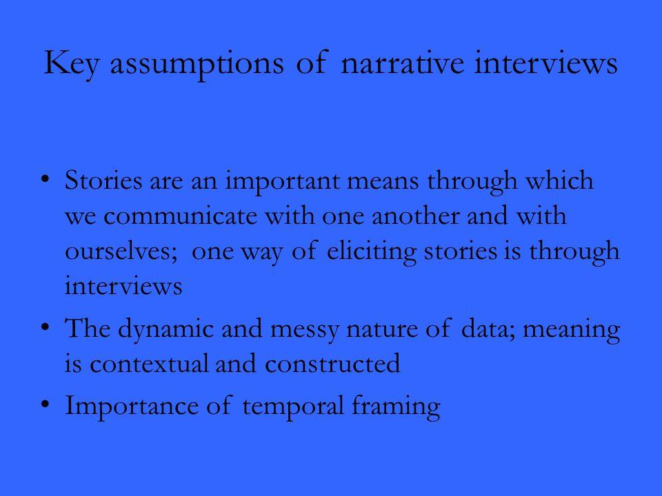 Key assumptions of narrative interviews