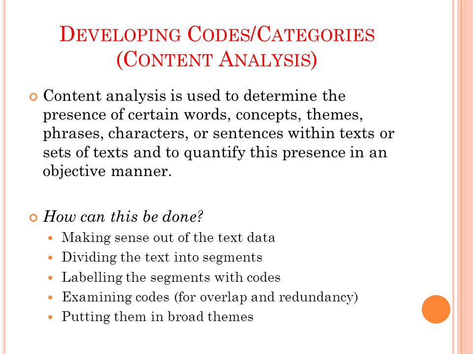 Developing Codes/Categories (Content Analysis)