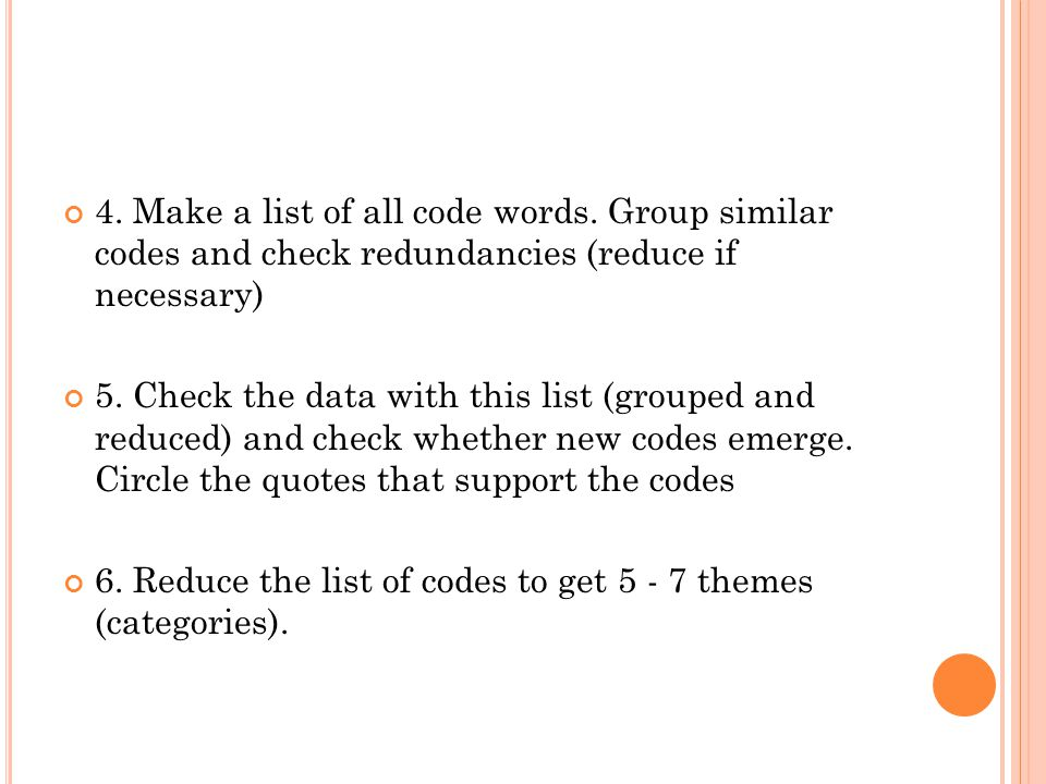 4. Make a list of all code words
