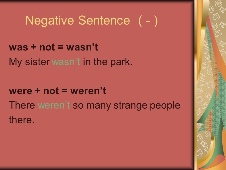 Negative Sentence ( - ) was + not = wasn't