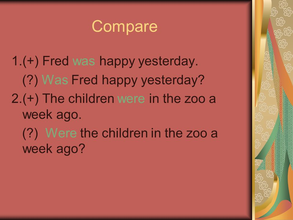 Compare 1.(+) Fred was happy yesterday. ( ) Was Fred happy yesterday