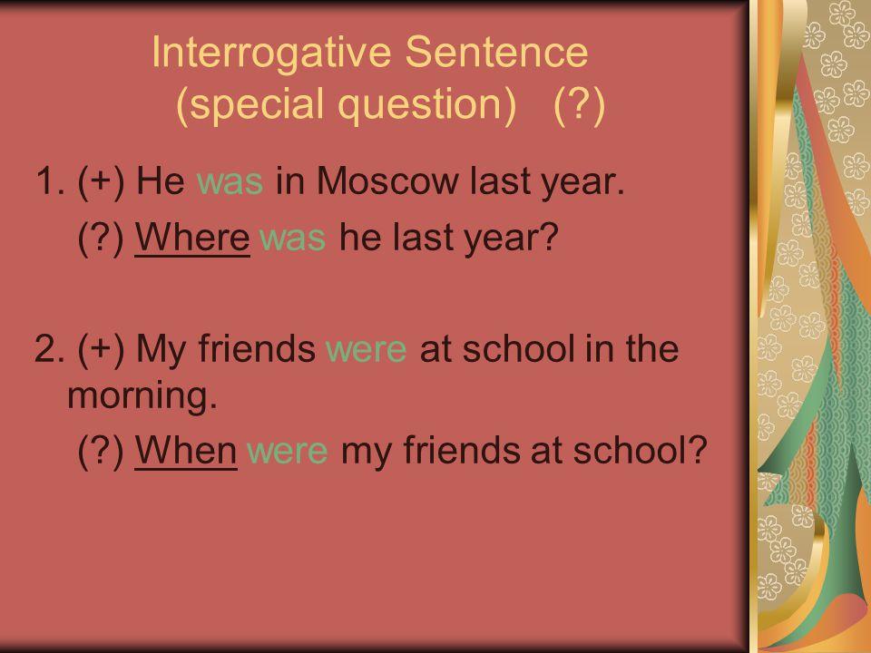 Interrogative Sentence (special question) ( )