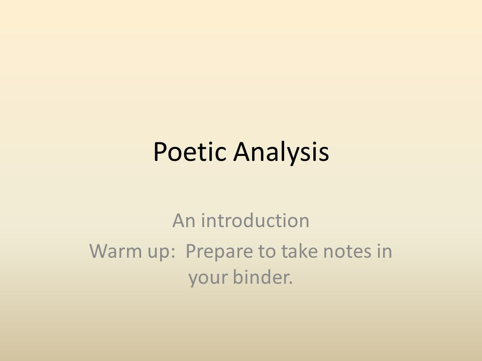 An introduction Warm up: Prepare to take notes in your binder.