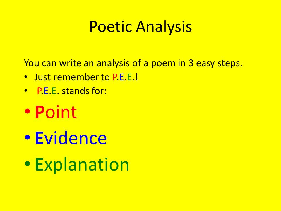 Point Evidence Explanation Poetic Analysis