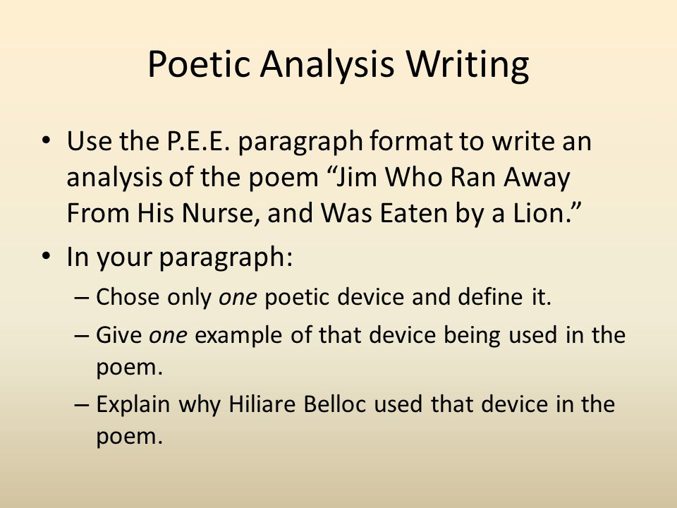 an analysis of perfect poetic How to write a literary analysis essay the purpose of a literary analysis essay is to carefully examine and sometimes evaluate a work of literature or an aspect of a work of literature.