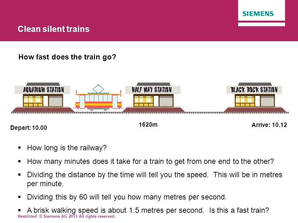 Clean silent trains How fast does the train go