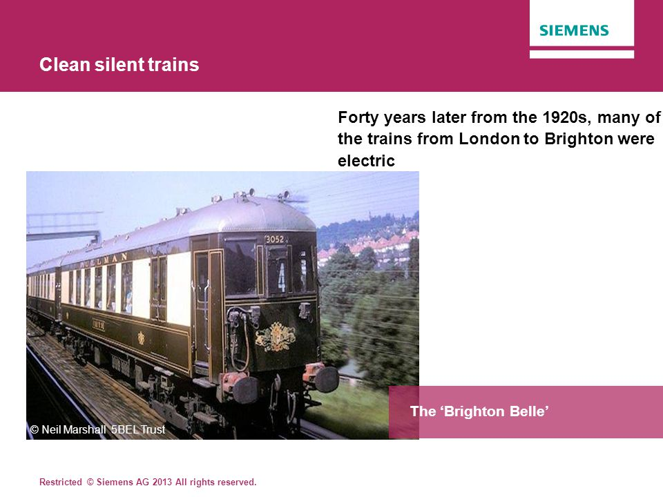 Clean silent trains Forty years later from the 1920s, many of the trains from London to Brighton were electric.
