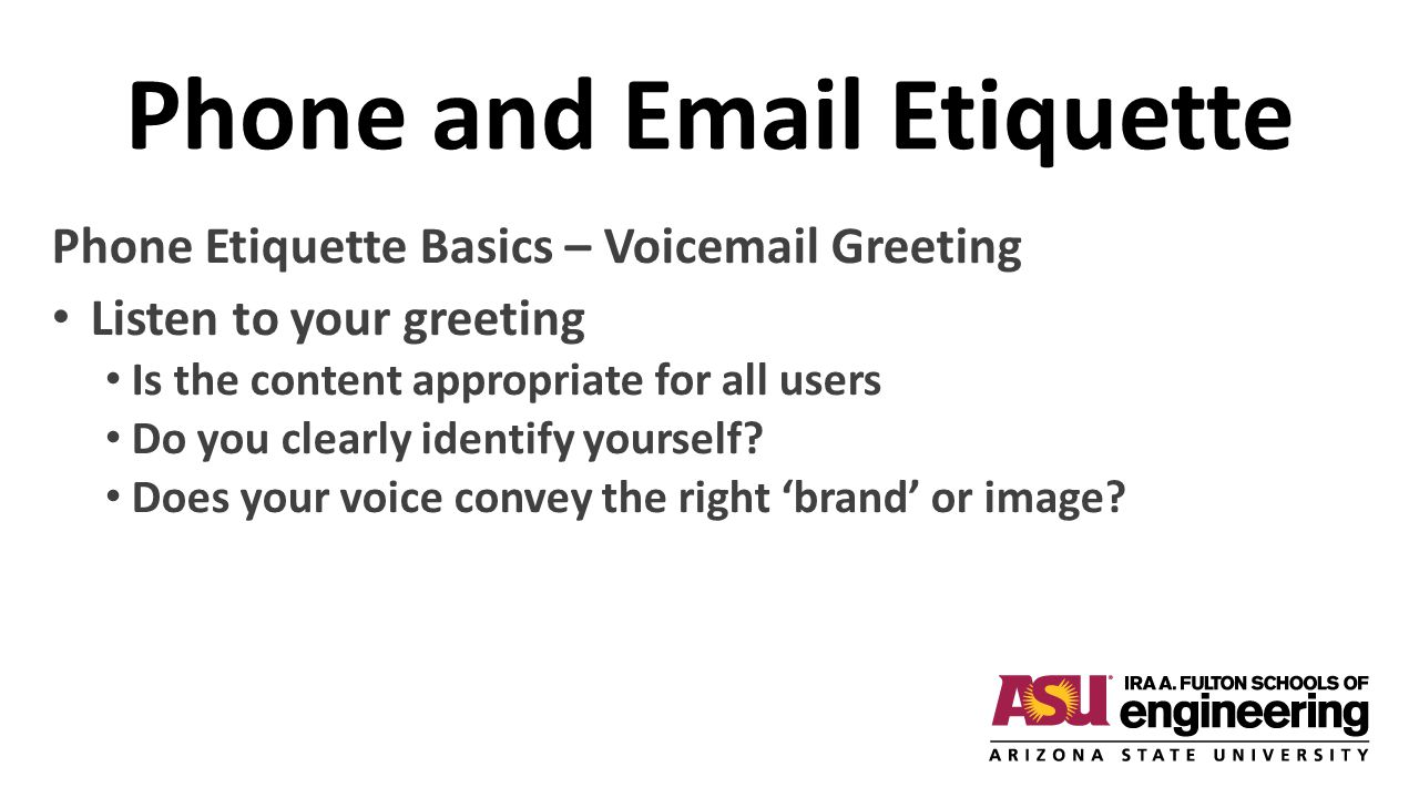 Phone and Email Etiquette