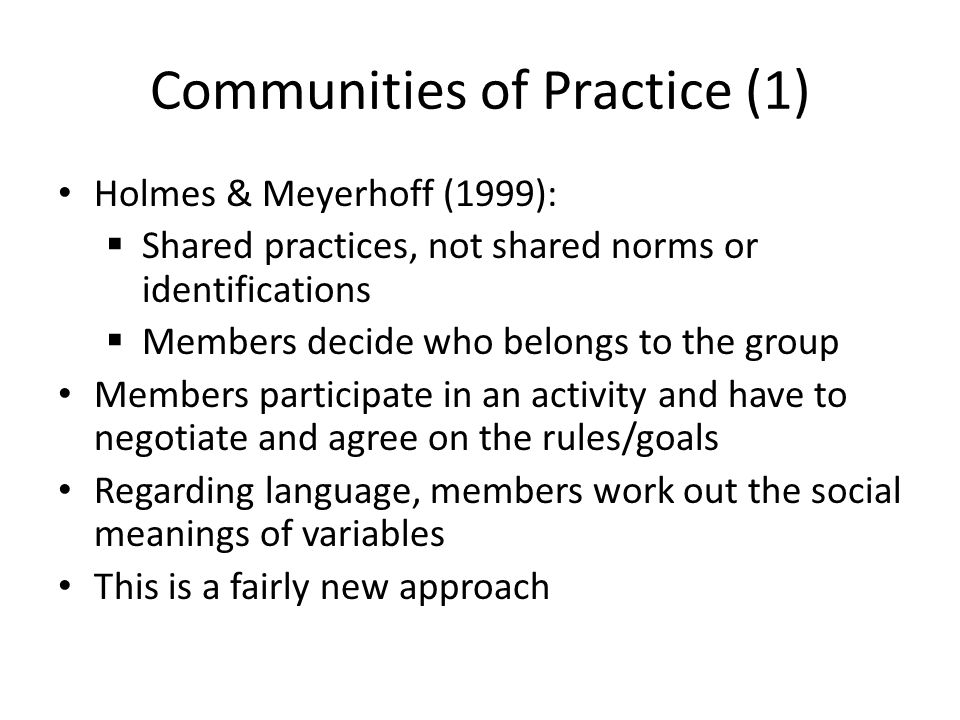 Communities of Practice (1)
