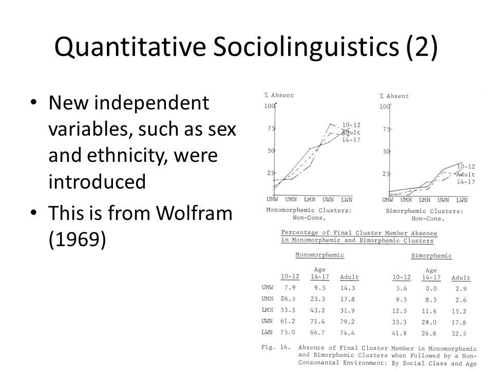 Quantitative Sociolinguistics (2)