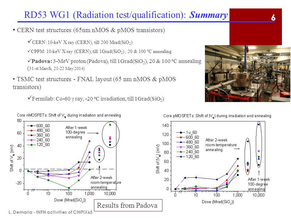RD53 WG1 (Radiation test/qualification): Summary