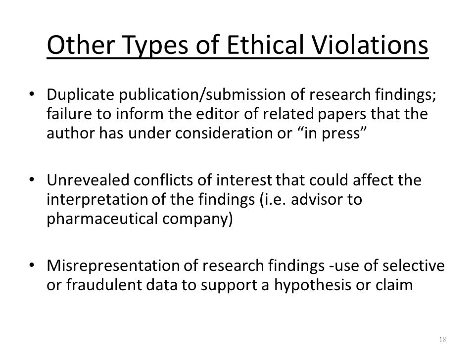 Other Types of Ethical Violations