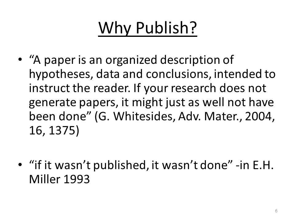 Why Publish