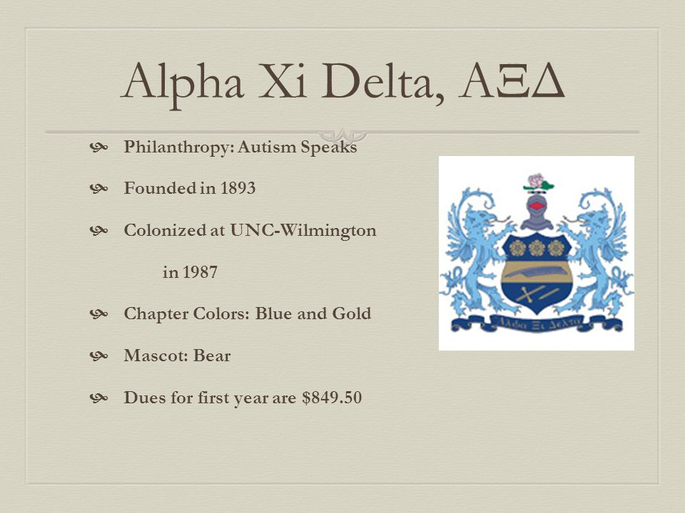 Alpha Xi Delta, ΑΞΔ Philanthropy: Autism Speaks Founded in 1893