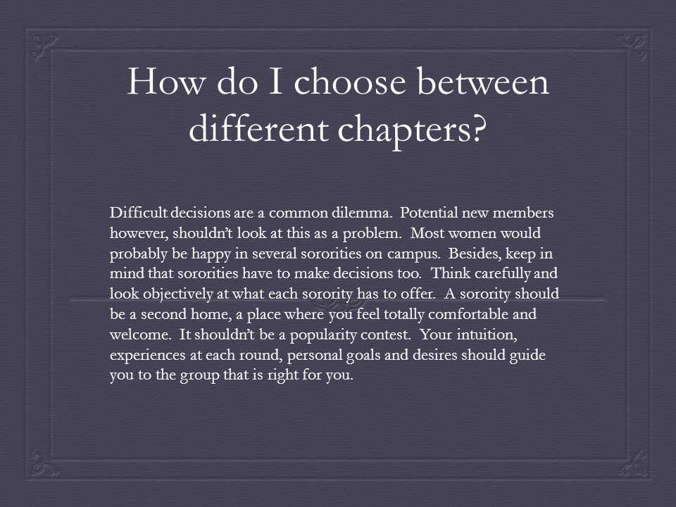 How do I choose between different chapters