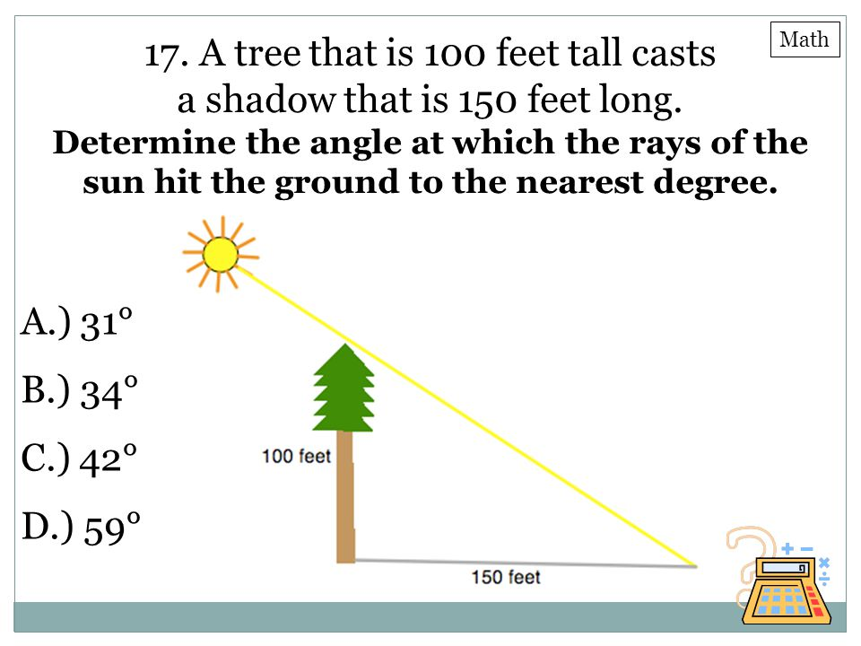 17. A tree that is 100 feet tall casts a shadow that is 150 feet long.