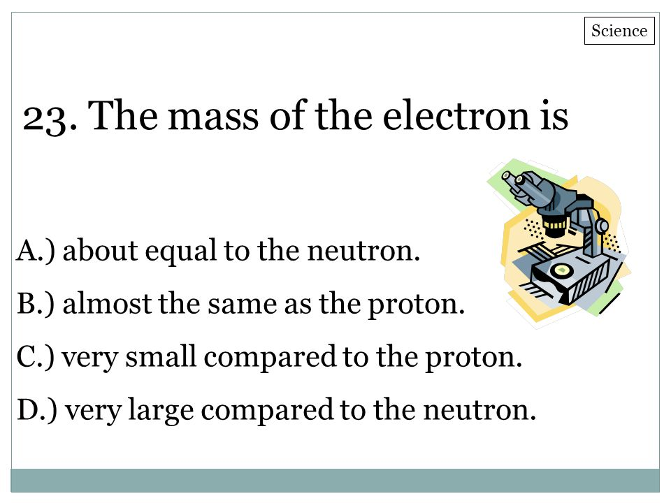 23. The mass of the electron is