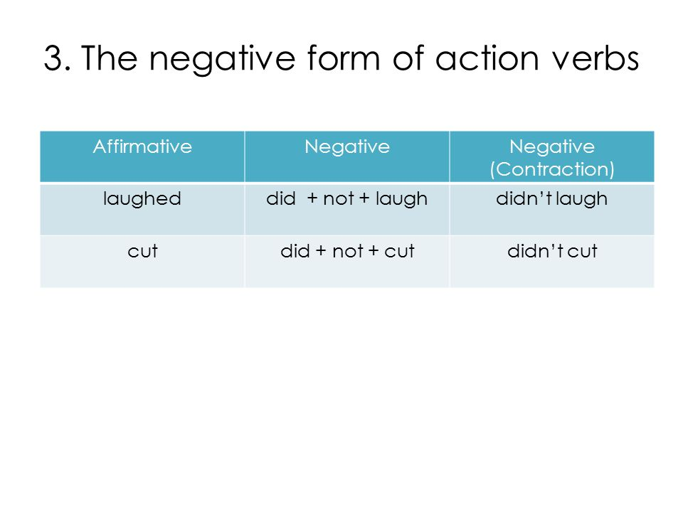 3. The negative form of action verbs