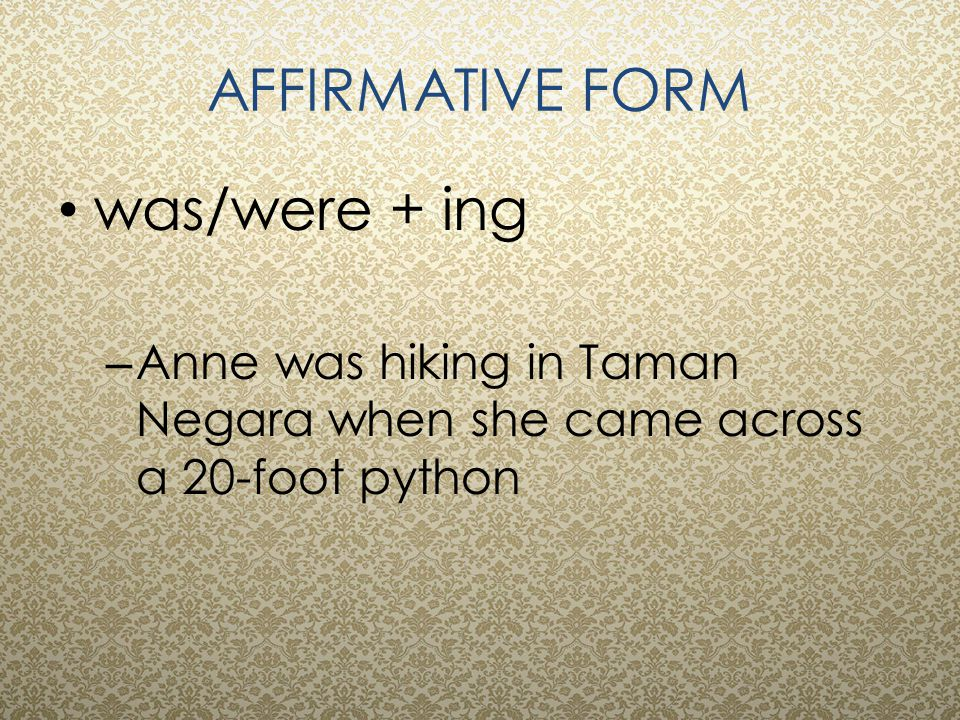 AFFIRMATIVE FORM was/were + ing