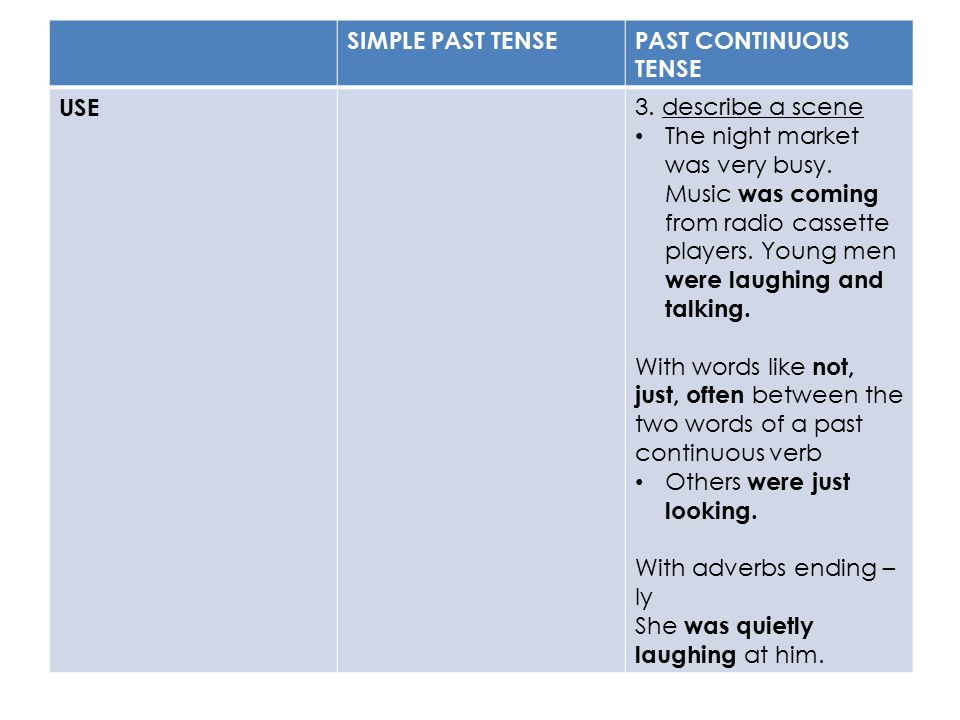 SIMPLE PAST TENSE PAST CONTINUOUS TENSE. USE. 3. describe a scene.