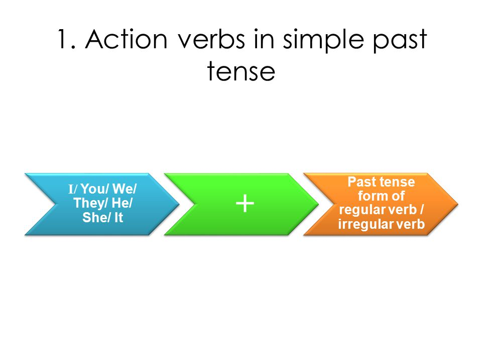 1. Action verbs in simple past tense